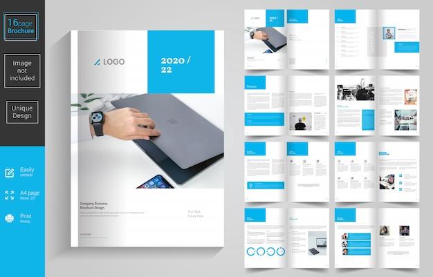 ブルーミニマルビジネスパンフレットのデザイン