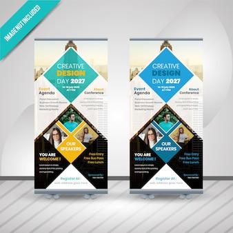 創造的なデザインのコンフェレンスは、バナーデザインをロールアップ