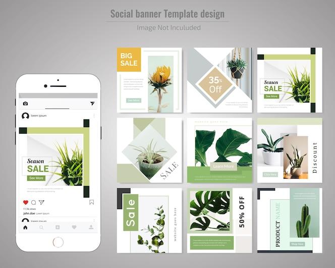 Зеленый шаблон социальных медиа