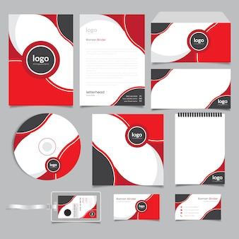 赤い抽象的な企業のブランドアイデンティティ