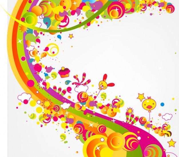 無料の抽象的な幸せなかわいい虹色のベクトル図
