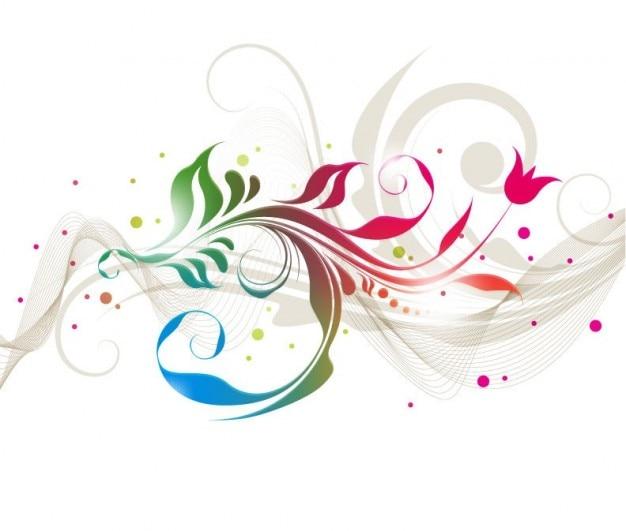 カラフルな花柄のデザインベクトルグラフィック