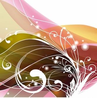 渦巻き模様の花の抽象的な背景、ベクトルグラフィック