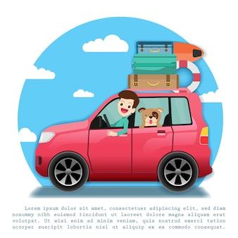 Человек в автомобиле путешествует по всему миру.