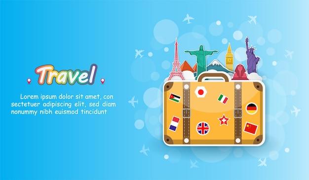 Флаг на багаж путешествия по всему миру.