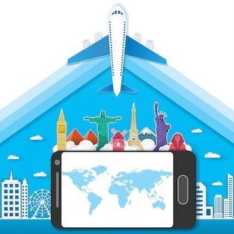 Телефон путешествуют по всему миру.