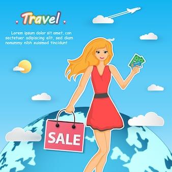 Женщина по магазинам по всему миру.