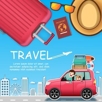 Мужчина и собака в автомобиле путешествуют по всему миру.