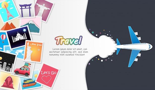 旅行の要素を備えた飛行機と写真アルバム。