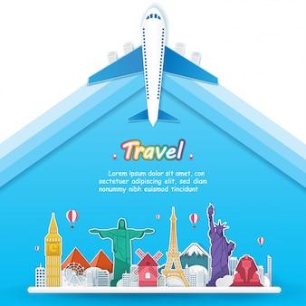 飛行機で世界中を旅しています。