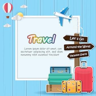 Самолет и багаж путешествуют по всему миру.