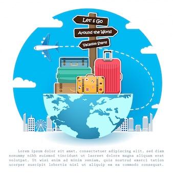 Самолет и багаж путешествовать по всему миру концепции.