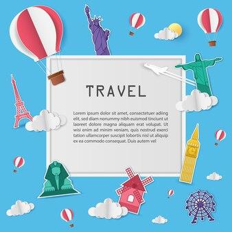 Ориентир путешествия по всему миру концепции.