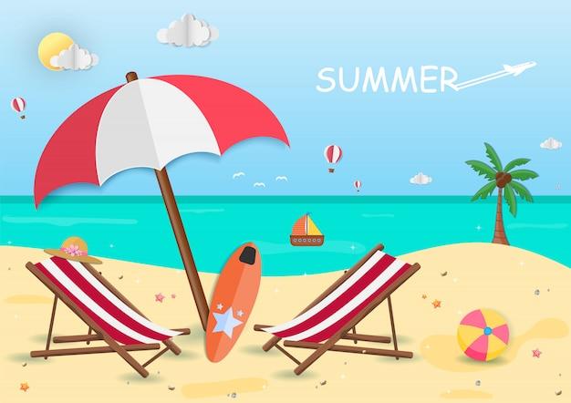 夏の間は海。背景デザインのビュー。