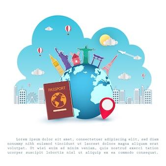 飛行機チェックインポイント青い背景に世界の概念の周り旅行します。