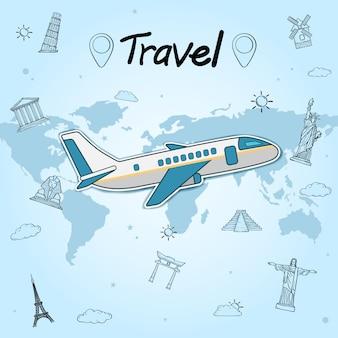 飛行機のチェックインポイントは青い背景に世界の概念を旅します。世界で最も有名なランドマーク。