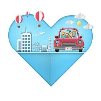 赤い車の女男旅行犬が世界中を旅します。
