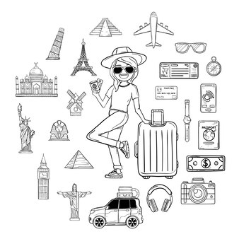 落書き手は荷物を持って女性旅行者を描きます。世界の概念の周りのアクセサリーを旅行します。