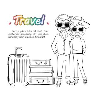 落書き手は白い背景の上の荷物を持つカップル女と男かわいい漫画旅行者を描きます。