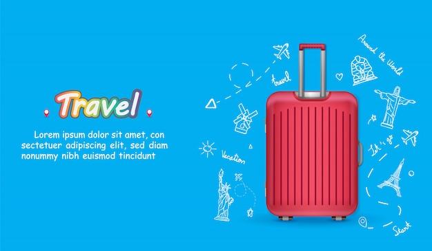 荷物を持つ手描きの旅行者を落書き。世界中のポイントトラベルアクセサリーの飛行機チェックイン。