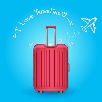 Путешественник с багажом. проверка самолета в точке кругосветного путешествия концепции на фоне дизайна.