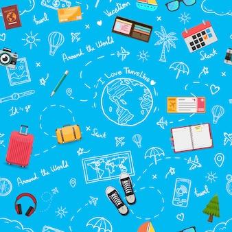 シームレスパターン旅行や出張。トップ世界の有名なランドマークと落書き手描きの旅行者。