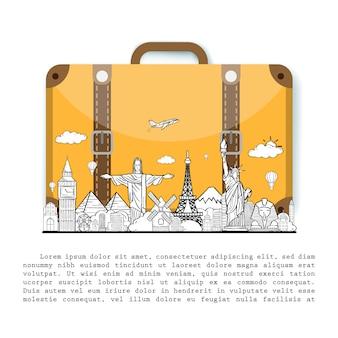 荷物を持つ手描きの旅行者を落書き。背景デザインの世界概念の周りのポイント旅行アクセサリーの飛行機チェック。