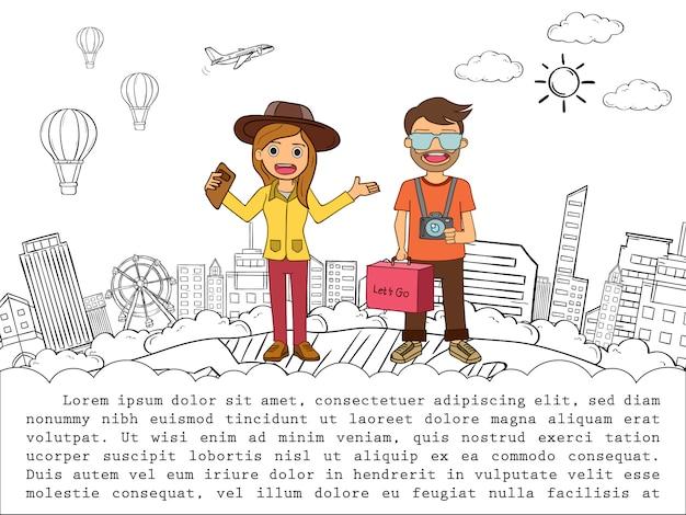 Путешественник шаржа человека и женщины характера милый с проверкой багажа в пункте путешествует вокруг концепции мира на голубом дизайне предпосылки сердца.