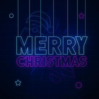 メリークリスマスネオン背景のデザイン
