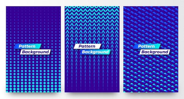 スタイリッシュなモダンな抽象的なハーフパターンの背景テンプレートセット