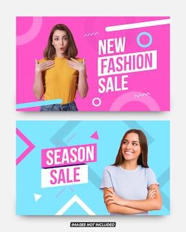 新しいファッション販売ソーシャルメディア投稿バナーセット