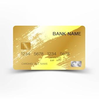 白い背景に豪華なクレジットカードの金色