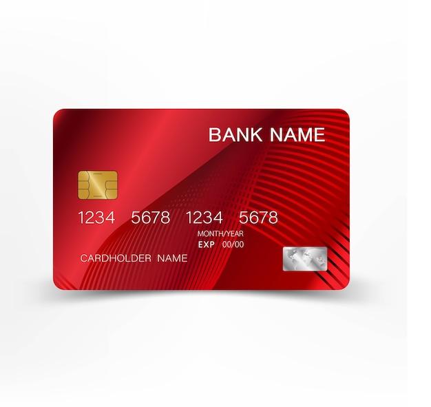 豪華な赤いクレジットカードのデザイン。