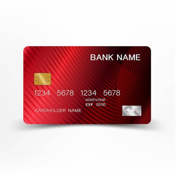 赤いクレジットカードのデザイン。