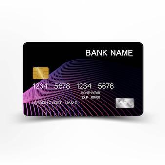クレジットカードは、灰色の背景にイラストレーションの紫と黒の色です。
