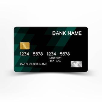Зеленый дизайн кредитной карты шаблон.