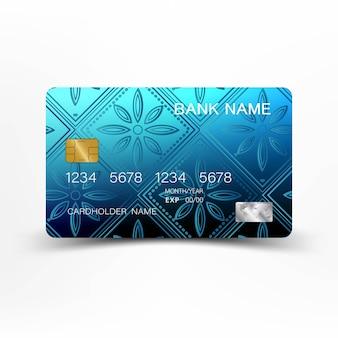 Синий дизайн шаблона кредитной карты.