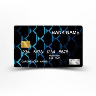 ブルーのモダンなクレジットカードのテンプレートデザイン。