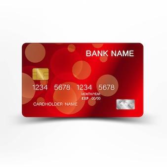 赤のクレジットカードのデザイン。