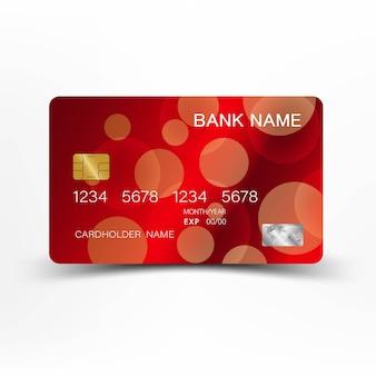 赤のクレジットカードのテンプレートデザイン。
