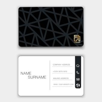 Черный дизайн визитной карточки.