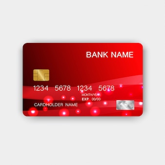 光沢のあるプラスチック製の豪華な赤のクレジットカードのデザイン。