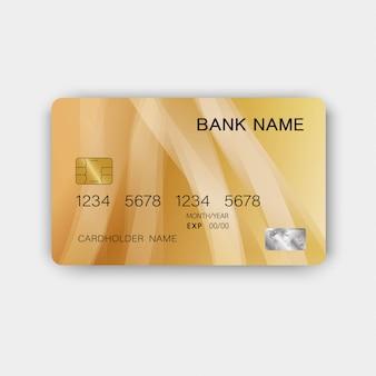 光沢のあるプラスチック製の豪華なゴールデンクレジットカードデザイン。