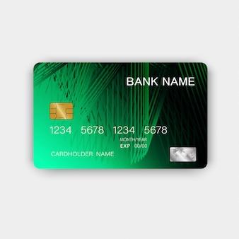 緑のクレジットカードのデザイン