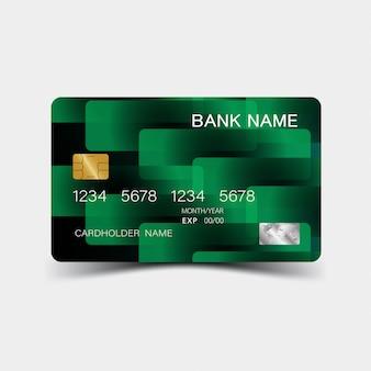 Кредитная карта. с зелеными элементами. вдохновение от абстрактного. ,