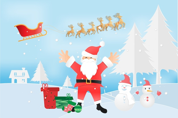 メリークリスマスとサンタクロース、雪
