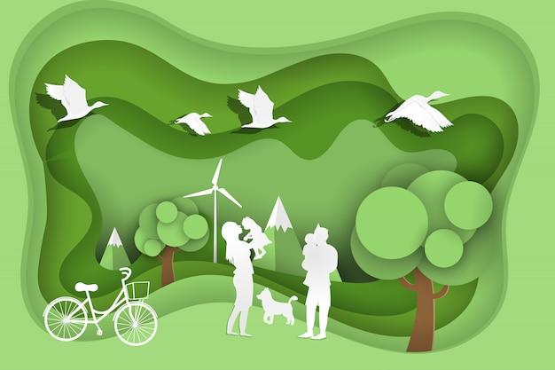 緑豊かな公園で幸せな家族