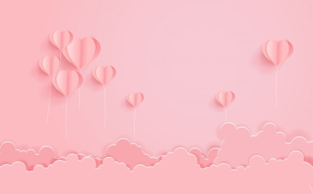 熱気球のハートとバレンタインの日の概念。