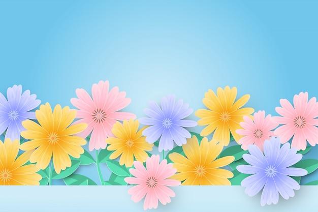 こんにちは美しい紙の花と春の販売の背景。