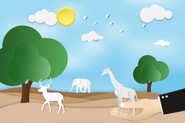 Бумажное искусство концепции всемирный день дикой природы с животными в лесу и голубое небо